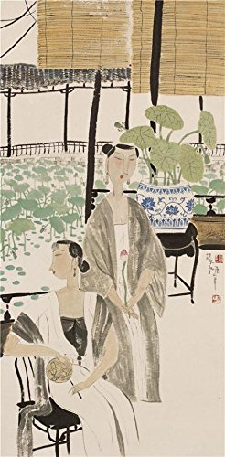 Polyster Canvas ,the Reproductions Art Decorative Prints On Canvas Of Oil Painting 'Hu Yongkai,Women By The Lotus Pond,21th Century', 12x24 Inch / 30x62 Cm Is Best For Foyer Decoration And (Yongkai Asian Print)