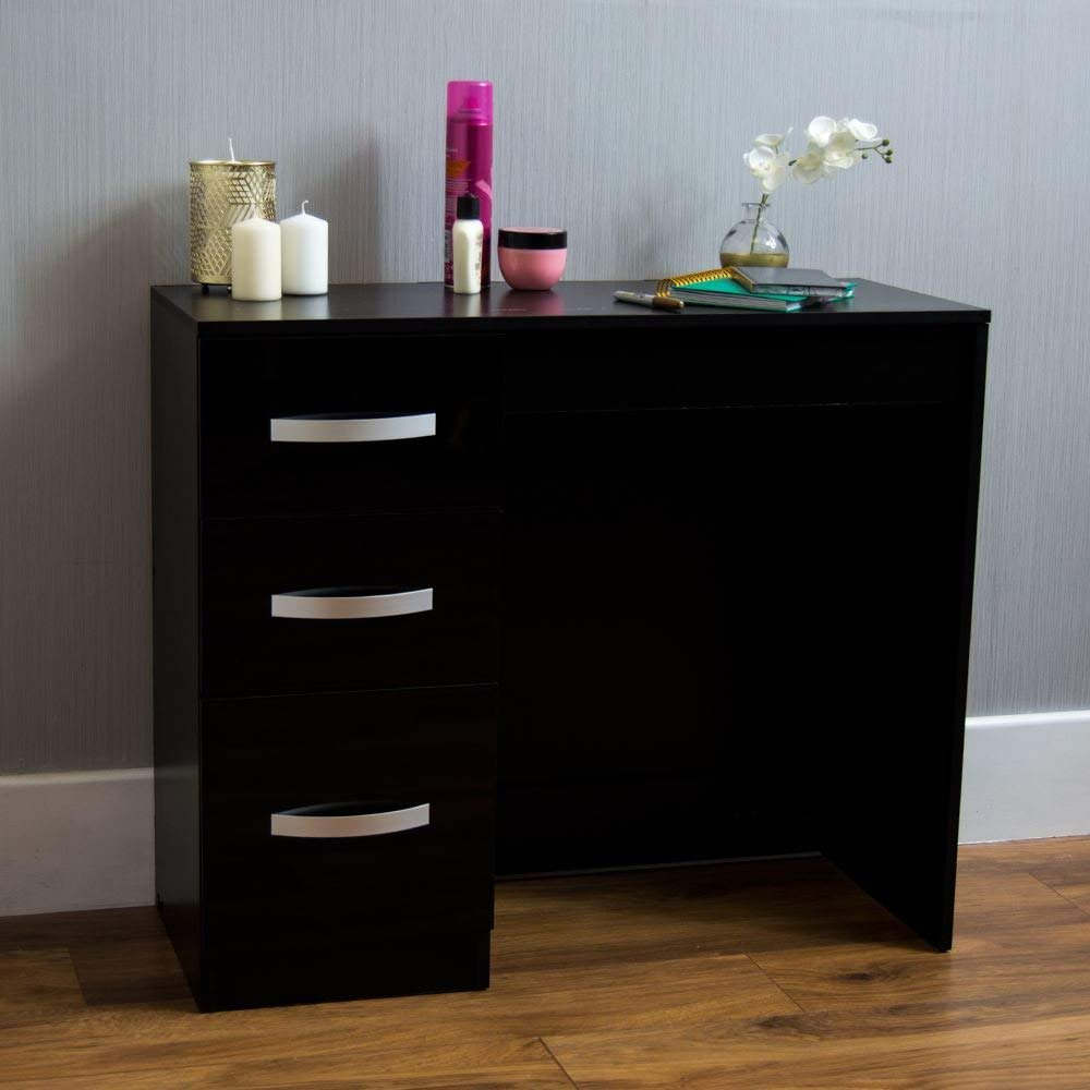 Black Dressing Table Makeup Computer Desk Bedroom Furniture Home Hulio High Gloss 3 Drawer Dressing Table