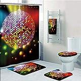 Bathroom 5 Piece Set Shower Curtain 3D Print,Popstar Party,Vibrant Colorful Disco Ball Nightclub Celebration Party Dance and Music Print Decorative,Multicolor,Picture Print Design