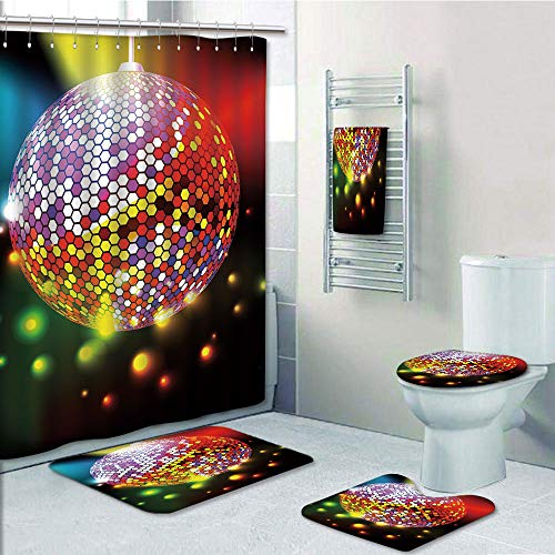 Bathroom 5 Piece Set Shower Curtain 3D Print,Popstar Party,Vibrant Colorful Disco Ball Nightclub Celebration Party Dance and Music Print Decorative,Multicolor,Picture Print Design by iPrint