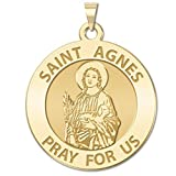 Saint Agnes of Rome Round Religious Medal 14K Yellow or White Gold, or Sterling Silver
