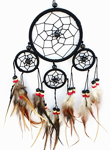 Handmade Traditional Dream Catcher with Feathers Hanging Decor Ornament ( with Betterdecor gift Bag)-4BLC
