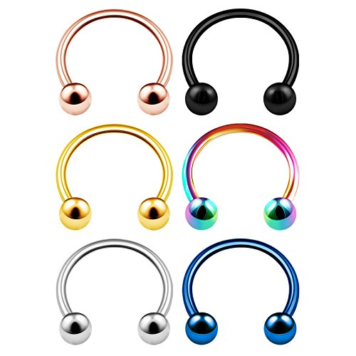 6PCS Surgical Steel Circular Ring 16 Gauge 3/8 10mm 3mm Ball Tragus Helix Lobe Lip Earrings Cartilage Piercing Jewelry 3748 ()