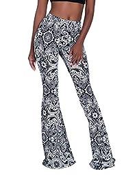 Ceemon Women's Comfy Gypsy Pattern Super Long High Waist Bell Bottom Leggings Pants