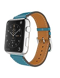 Apple Watch Band Series 1 Seris 2, MoKo Luxury Genuine Leather Smart Watch Band Strap Single Tour Replacement for 38mm Apple Watch 2015 & 2016 All Models, Peacock BLUE (Not Fit 42mm Versions)