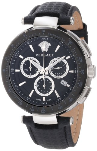 Versace Men's I8C99D008 S009 Mystique Black IP Bezel Chronograph Tachymeter Watch