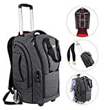 Neewer 2-in-1 Camera Rolling Backpack Trolley Case with TSA Lock, Anti-Shock Detachable Padded Compartment, Hidden Pull Bar, Durable, Waterproof for Lens, Lens Hood, and Tablet (Grey/Red)
