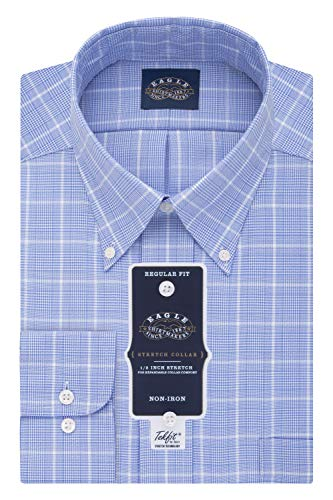 Eagle Men's Dress Shirt Non Iron Stretch Collar Regular Fit Check, Blue Frost, 17.5