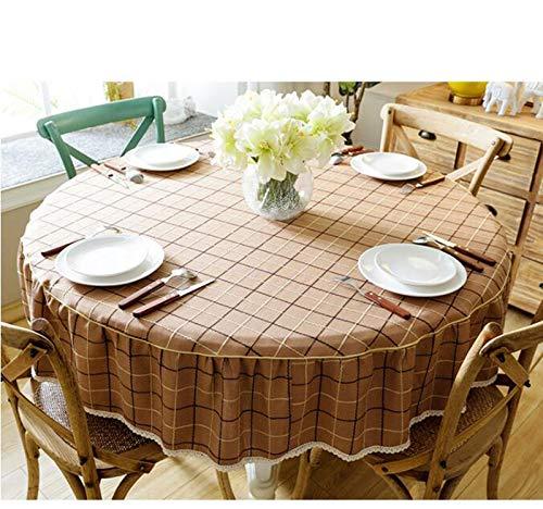 marron 150cm HPSD Linge de Table Nappe, Style de Pays Nordique Rond et draps capables pour la décoration de la Maison (Couleur   marron, Taille   150cm)