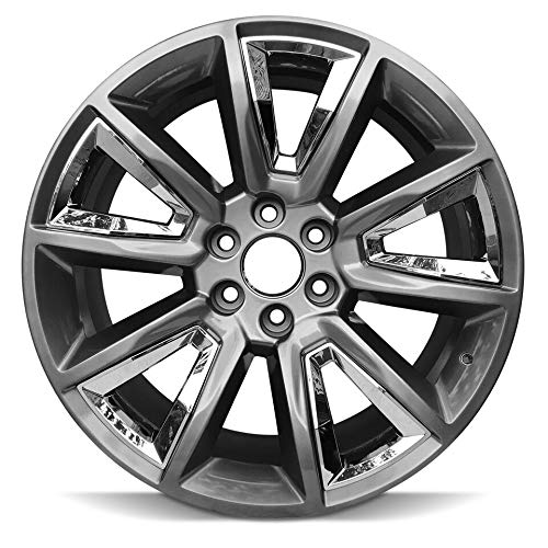 22 Inch Black And Chrome Rims - Road Ready Car Wheel For 2015-2018 Chevrolet Suburban 1500 Chevy Tahoe 22 Inch 6 Lug Hyper Black W Chrome Insert Aluminum Rim Fits R22 Tire - Exact OEM Replacement - Full-Size Spare