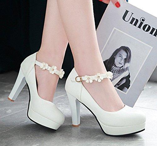 Aisun Womens Fashion Blomma Spände Rund Tå Dressat Hög Chunky Klack Plattformen Pumpar Skor Med Ankel Rem Vit