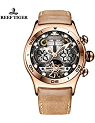 Reef Tiger Mens Sport Watch with Multi-funciton Skeleton Tourbillon Watch RGA703