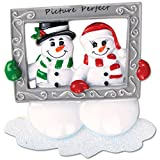 Personalized Snow Couple Holding Frame Christmas Ornament - Cute Happy Snowman Family of 2 Taking a Picture Perfect Memory - Our Love Photo Romantic Grand-parent - Free Customization by Elves
