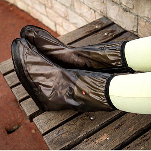 sourcingmap 1 Paar Größe L Braun PVC Wiederverwendbar Rutschfest Regen Stiefel Schuh-Abdeckungs braun