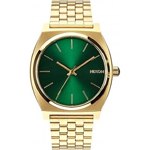 nixon-a0451919-time-teller-green-sunray-analog-dial-gold-steel-unisex-watch-new