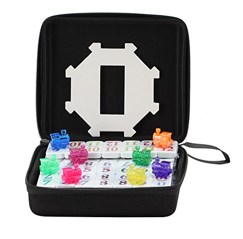 Double 12 Mexican Train Number Dominoes to Go Travel Size with Zip Up Case, Hub & 8 Domino Trains