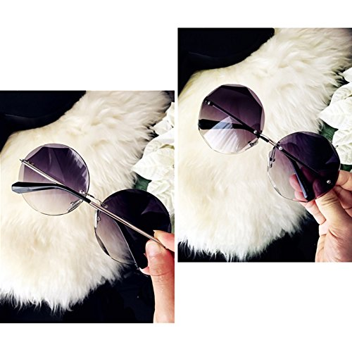 Redondas Sol Marco Femeninas De De LIZHIQIANG gray Sol Gafas Gafas Gris Color Personalidad Sin Purple wHtZx4q