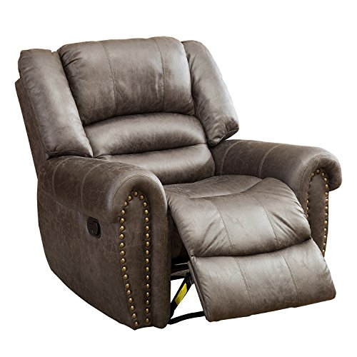 Leather Chair Bedroom (BONZY Oversized Recliner Chair Leather Cover Living Room Lounge Chair - Smoke Gray)
