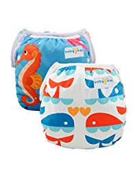Babygoal Baby Swim Diapers, Reusable Washable and Adjustable for Swimming, Outdoor Activities and Daily Use, Fit Babies 0-2 Years (2SWD0223-CA)