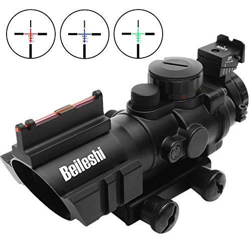 Beileshi Rifle Scope 4x32 Red/Green/Blue Triple Illuminated Rapid Range Reticle Scope with Top Fiber Optic Sight and Weaver Slots (Best Scope For Ar 15 100 Yards)