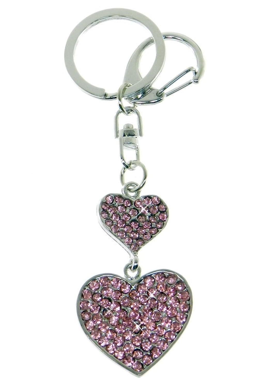 Purse Charm/Key Chain - Rhinestone Double Heart - Pink Crystals