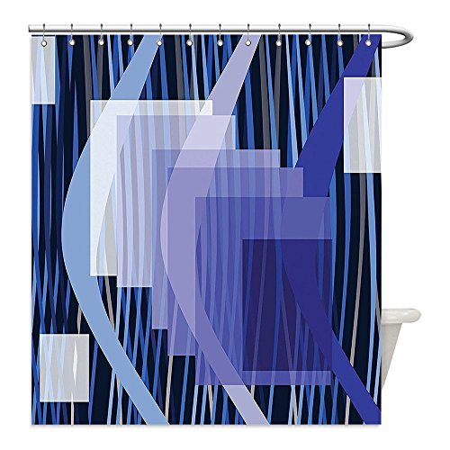 Liguo88 Custom Waterproof Bathroom Shower Curtain Polyester Navy Blue Decor Abstract Wavy Stripes with Squares and Triplet Arrows Pattern Art White Blue and Navy Decorative (Easy Triplet Costume Ideas)