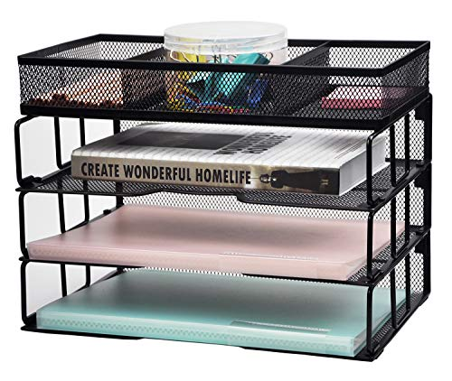(Reliatronic Mesh Office Desk Organizer, Stackable File Letter Tray Organizer with 3 Stackable Trays and Sorter, Black )