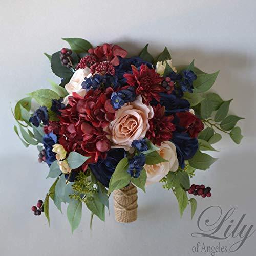 Wedding Bouquet, Bridal Bouquet, Bridesmaid Bouquet, Silk Flower Bouquet, Wedding Flower, peach, navy blue, burgundy, blush, Lily of Angeles -