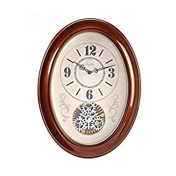 GuoEY European-style Wall Clock Living Room Mute Hanging Table Creative Clock Decorative Art Quartz Clock, Oval -Wall mounted clock