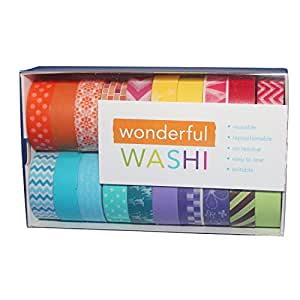 Wonderful Washi Japanese Decorative Paper Craft Tape - Bright Collection (Set of 20 rolls) Extra Long (32 feet!)