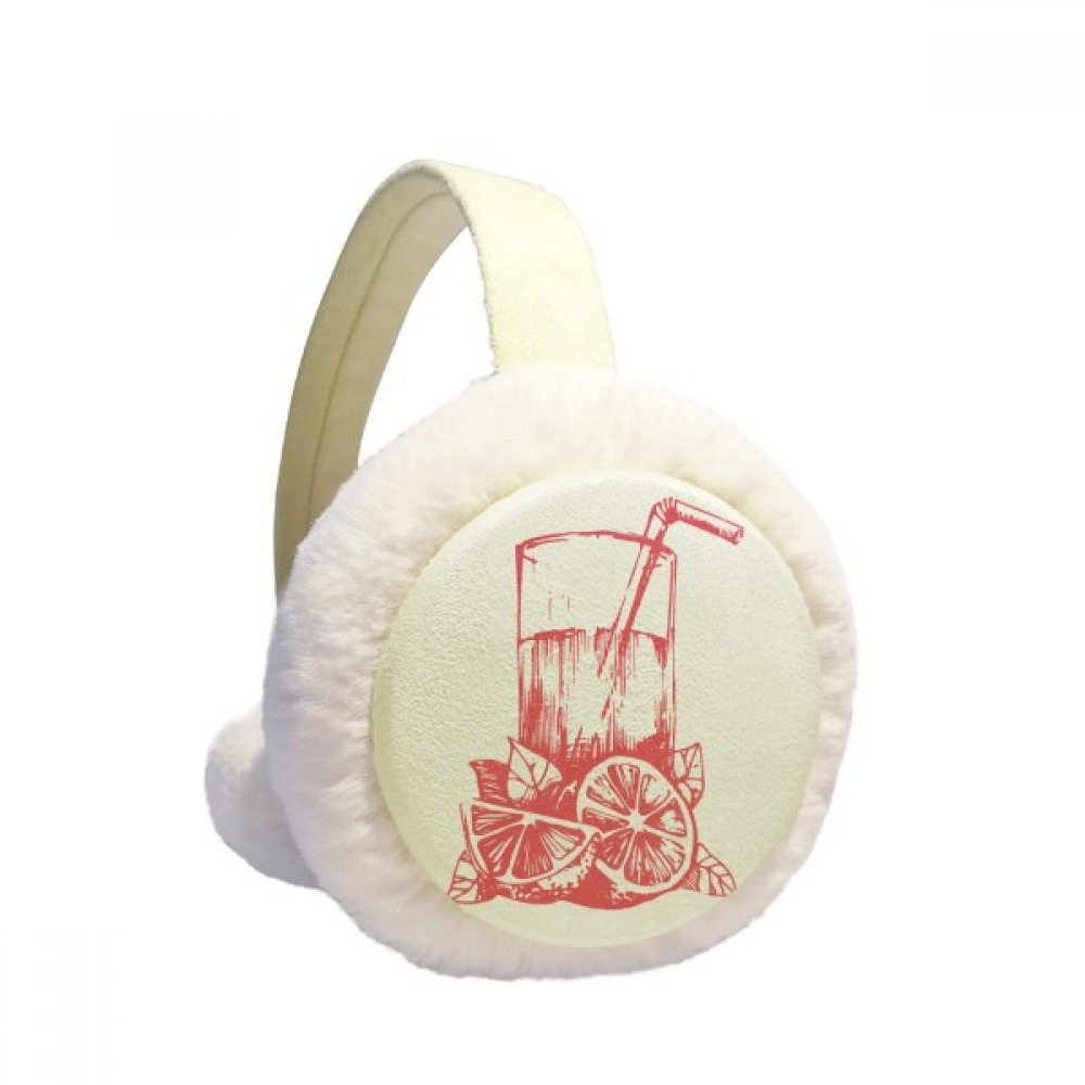Juice Lemon Watercolor Illustration Pattern Winter Earmuffs Ear Warmers Faux Fur Foldable Plush Outdoor Gift