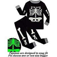 Little Pajamas Boys Skeleton Glow in The Dark Halloween Pjs Toddler Clothes Kids Sleepwear