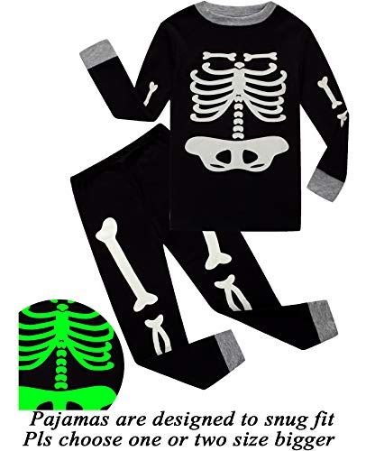 Little Pajamas Boys Skeleton Glow in The Dark Halloween Pjs Toddler Clothes Kids Sleepwear -
