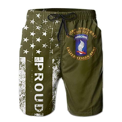 HANINPZ Proud American 173rd Airborne Brigade Men's Swim Trunks Army Green Beach Short Board Shorts