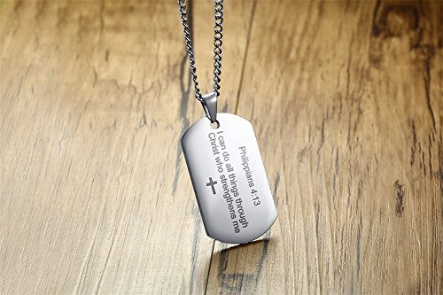 Philippians 4:13 Bible Verse Engraved Stainless Steel Dogtag Pendant Necklace for Men,Christian Religous Jewelry,Silver by Mealguet Jewelry (Image #3)