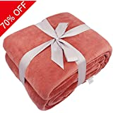 Somewhere Twin Extra Long Blanket, Luxury Super Soft Warm Fuzzy Plush Polyester Coral Fleece Throw, Lightweight Couch Bed Blanket, Easy Care-Twin, Coral
