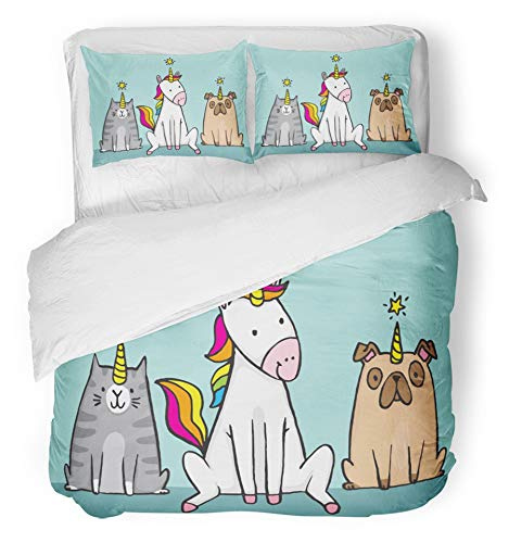 Emvency 3 Piece Duvet Cover Set Brushed Microfiber Fabric Breathable Imposter Unicorn and Her Pets Cat Caticorn and Pug Unipig Cute Cartoon File Dog Bedding Set with 2 Pillow Covers ()