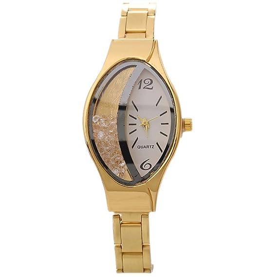 homim Mujer Reloj De Pulsera Oro Color estrecho Acero Inoxidable Pulsera ovalada con piedras brillantes creativo Esfera Redonda Reloj de mujeres analógico ...