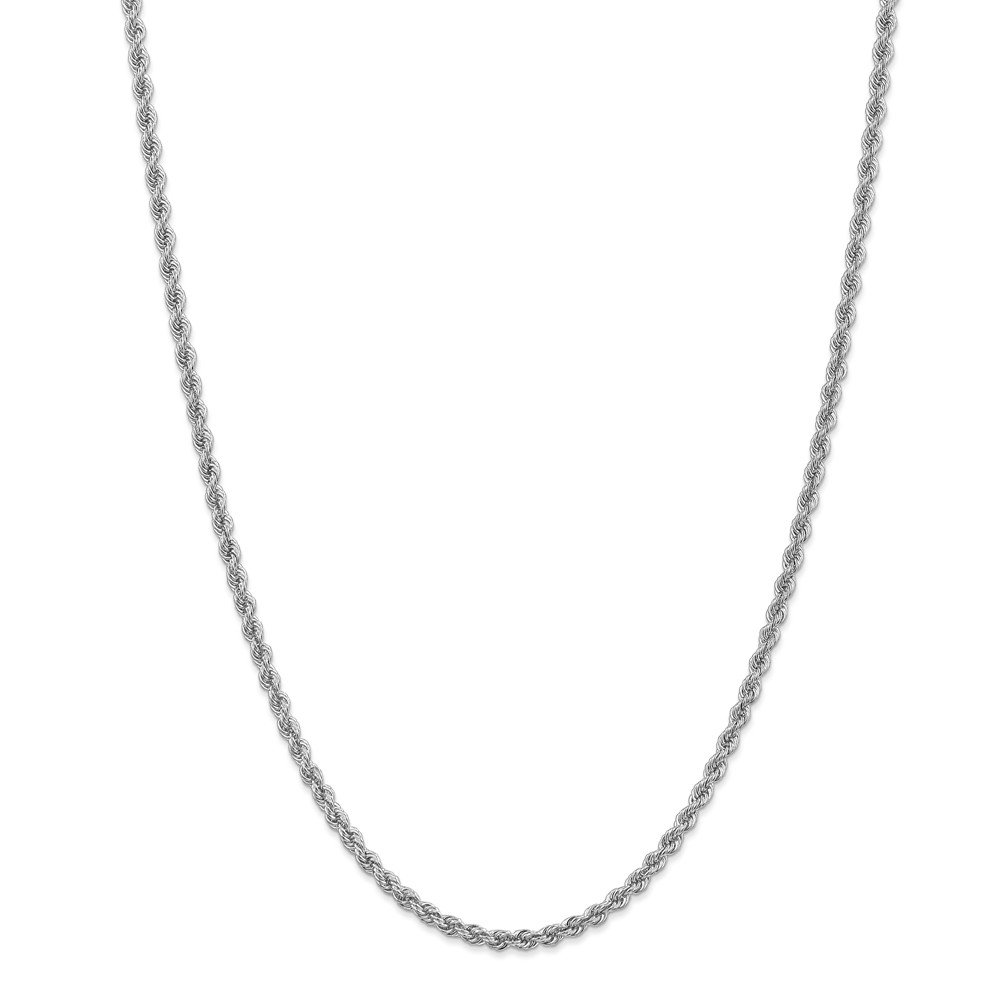 Mia Diamonds 14k WG 3.0mm Handmade Regular Rope Chain Necklace