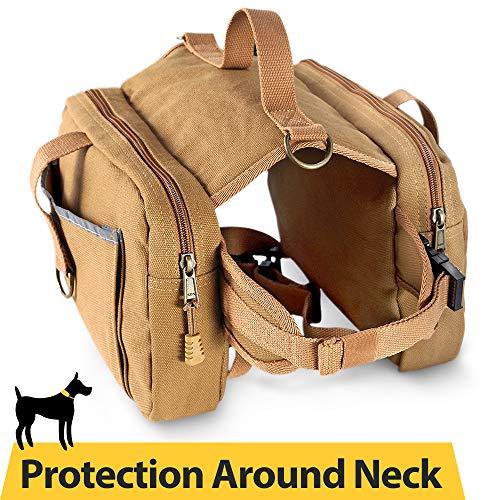 Dog Hiking Saddle Bag 16oz Canvas Adjustable Straps Camping Backpacks for Medium & Large Dogs (Best Dogs For Hiking And Backpacking)