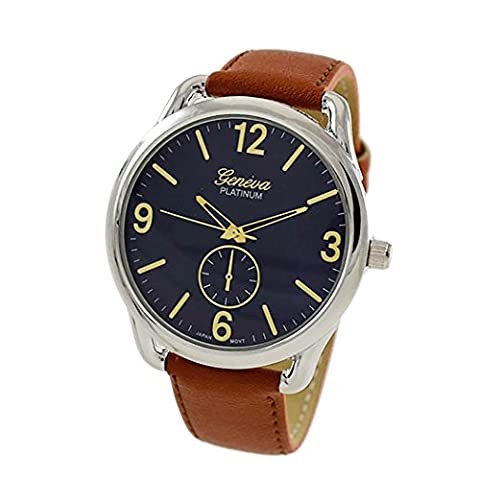 Rosemarie Collections Men's or Women's Stitched Vegan Leather Oversized Watch (Brown, Blue and (Vegan Leather Watch Man)