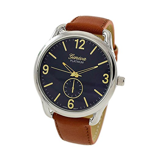 Collection Brown Leather Watch (Rosemarie Collections Men's or Women's Stitched Vegan Leather Oversized Watch (Brown, Blue and Silver))