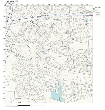 La Puente Zip Code Map.Amazon Com Zip Code Wall Map Of La Puente Ca Zip Code Map