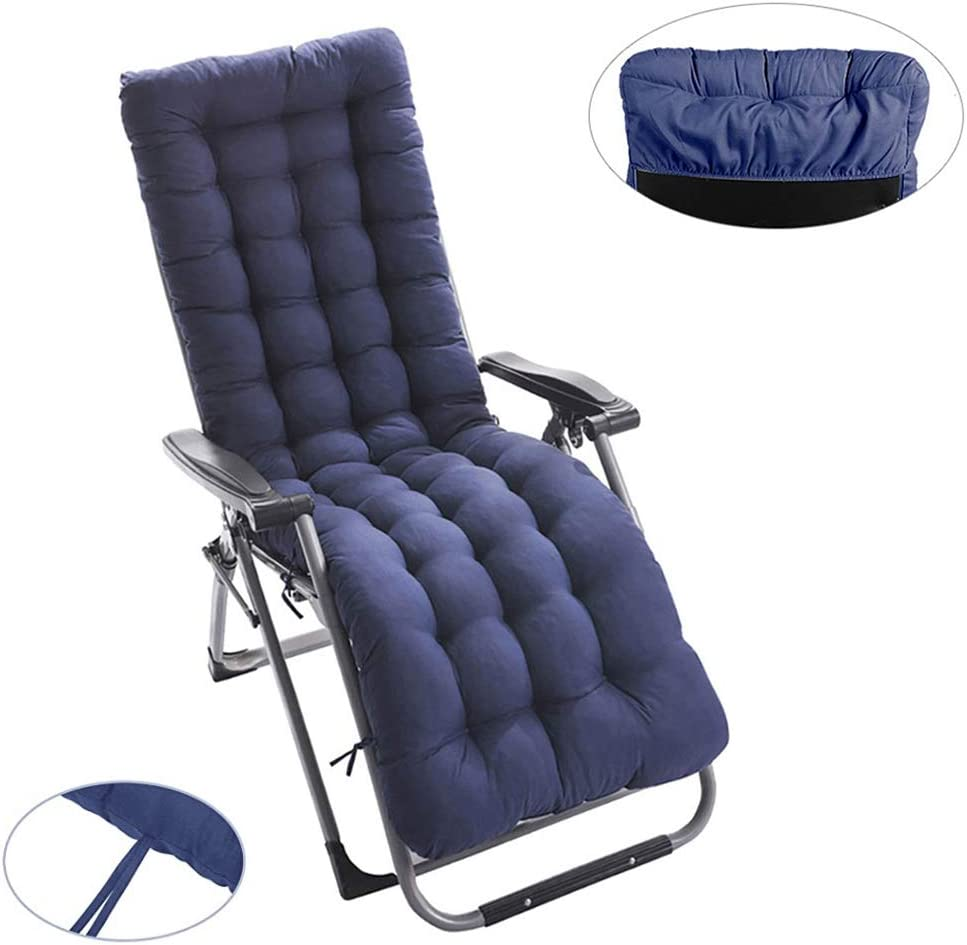 Thick Folding Non Slip Washable Furniture Cotton Seat Pad Solid Color Sun Lounger Cushion Lounge Chair Cushions,Patio Garden 1 pcs, Blue