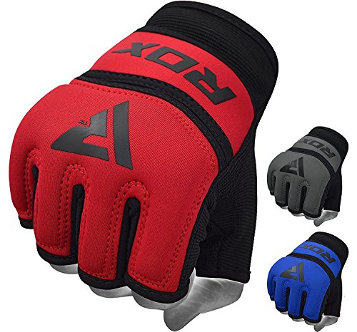 RDX Hand Wraps Boxing Inner Gel Gloves under MMA Fist knuckle Protector Muay Thai Fist Bandages Maya Hide leather Padded (Leather Wrap Mma Gloves)