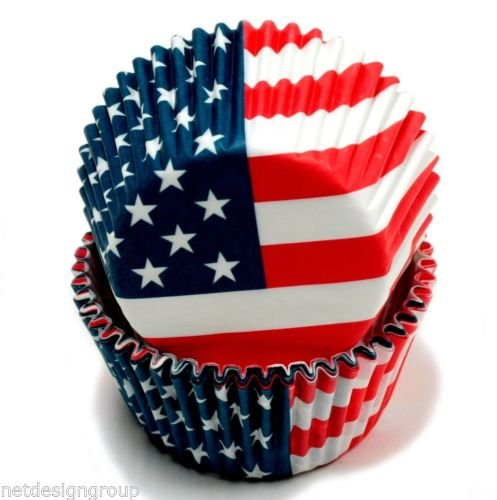 Chef Craft 50 Count American Flag Cupcake Liners with 50 American Flag Party Picks (American Flag Cupcake Picks)