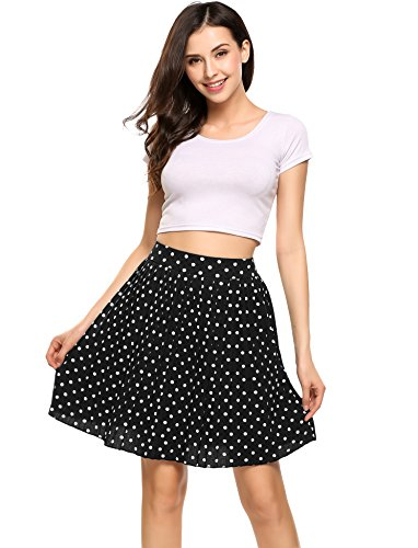 Zeagoo Women's Retro High Waist A Line Chiffon Polka Dot Pleated Midi Skirt Black Medium (Polka Dot Mini Skirt)