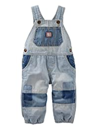 OshKosh B'Gosh Baby Boys' Jersey-Lined Patchwork Hickory Stripe Overalls, 9 Months