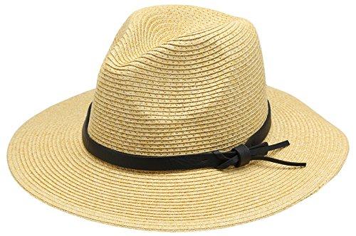 Women's Braid Straw Wide Brim Classic Fedora Sun Hat UPF 50+ with Adjustable Drawstring (F2252, Natural) (Braid Hat Brim Paper)