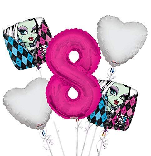Monster High Balloon Bouquet 8th Birthday 5 pcs - Party Supplies -